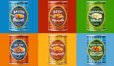 Tesco Baked Beans range Stephen Conroy packaging photography